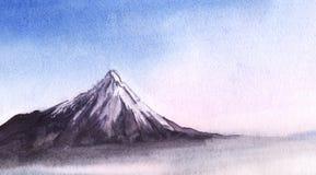 Снег-покрытые пики мимолётного взгляда высоких гор через иллюстрация штока