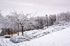 Снег покрыл жилой район в Мильтоне Keynes 3 Стоковые Изображения