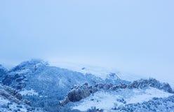 Снег покрыл каньон и утесы Стоковое Фото