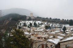 Снег покрыл крыши в Италии Стоковые Изображения RF