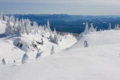 Снег покрыл сценарное на лыжном курорте Стоковая Фотография