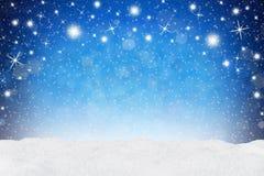 Снег сини предпосылки Xmas Стоковая Фотография RF
