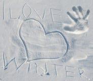 Снег с зимой влюбленности литерности i Стоковые Изображения