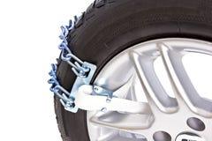 Снег цепей для колеса автомобиля Стоковые Изображения