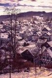 Снег Freudenberg покрыл старый городок Стоковая Фотография