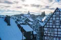 Снег Freudenberg покрыл старый городок Стоковые Фото