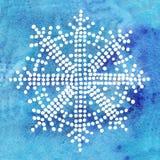 Снежинка акварели белая на голубой предпосылке Стоковое Изображение