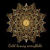 Снежинка золота красивая богато украшенная абстрактная изолированная на черном b Иллюстрация штока