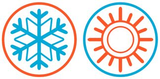 Снежинка и изолированный солнцем значок Стоковые Изображения RF