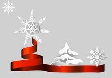 Снежинка и рождественская елка Стоковое Изображение
