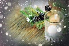 Снежинка конуса подсвечника ветви карточки ретро Стоковые Фотографии RF