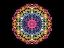 Снежинка мандалы пламени конспекта радуги, орнаментальное круглое patte стоковое фото