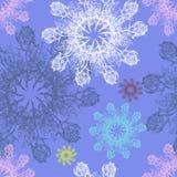 Снежинка на свете - голубая предпосылка красочного графика розовая флористическая картина безшовная Стоковая Фотография RF