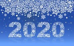 снежинка номера текста 2020 Новых Годов на голубой предпосылке Стоковая Фотография RF