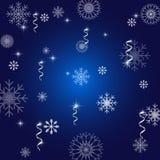 Снежинка поздравительной открытки рождества и Нового Года на голубой иллюстрации иллюстрация штока