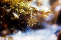 Снежинка рождества золотая на дереве ветви с снегом и праздниками предложения счастливыми, с ретро влиянием Стоковые Фото