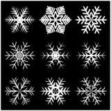 Снежинка рождества, который замерли значок силуэта хлопь, символ, дизайн Зима, кристаллическая иллюстрация вектора изолированная  Стоковое фото RF