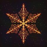 Снежинка украшения рождества с влиянием зарева Стоковое фото RF