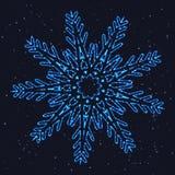 Снежинка яркого рождества накаляя голубая бесплатная иллюстрация