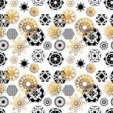 снежинки абстрактная картина Черно-белый с золотом monochrome Стоковое Фото