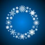 Снежинки венка Рамка Нового Года или рождества Стоковые Фото