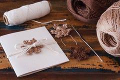 Снежинки вязания крючком Брайна для украшения рождества handmade gr стоковое изображение rf