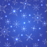 снежинки голубой картины безшовные Стоковое Изображение RF