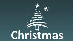 Снежинки, ель и рождество волшебства иллюстрация вектора