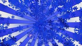 Снежинки летания с sunburst в сини иллюстрация штока