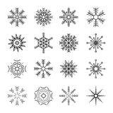 снежинки иконы 16different установленные иллюстрация штока
