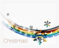 Снежинки на волне выравниваются, предпосылка рождества и Нового Года Стоковая Фотография RF