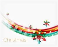 Снежинки на волне выравниваются, предпосылка рождества и Нового Года Стоковое Фото