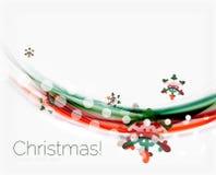 Снежинки на волне выравниваются, предпосылка рождества и Нового Года Стоковые Изображения