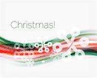 Снежинки на волне выравниваются, предпосылка рождества и Нового Года Стоковое Изображение