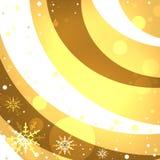 Снежинки на золотой предпосылке снега Стоковые Фото