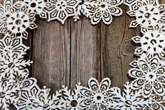 Снежинки рамки белые деревянные Стоковое Изображение RF
