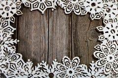 Снежинки рамки белые деревянные Стоковые Изображения RF