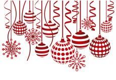 снежинки рождества карточки шариков Стоковая Фотография