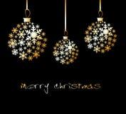 снежинки рождества шарика золотистые сделанные Иллюстрация вектора