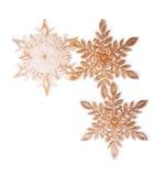 3 снежинки рождества золотых Стоковые Изображения RF