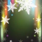 Снежинки рождества на красочной предпосылке Стоковые Фотографии RF