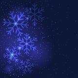Снежинки рождества приветствуя предпосылку Стоковые Фотографии RF