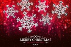 Снежинки серебра знамени рождества на красной предпосылке Стоковое Изображение RF