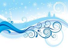 снежинки снежка рождества предпосылки голубые Стоковое Изображение
