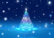снежинки снежка рождества предпосылки голубые Стоковая Фотография