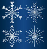 Снежинки текстурированные вектором 3 Стоковое Изображение
