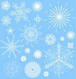 Снежинки vector комплект в белом и голубом. Стоковое Изображение RF
