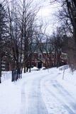 Снежная, ледистая дорога, водя к красному дому между деревьями Стоковое Изображение