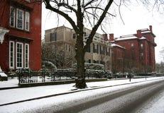 снежная улица Стоковая Фотография