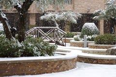 Снежности в дворе Город зимы стоковое фото rf